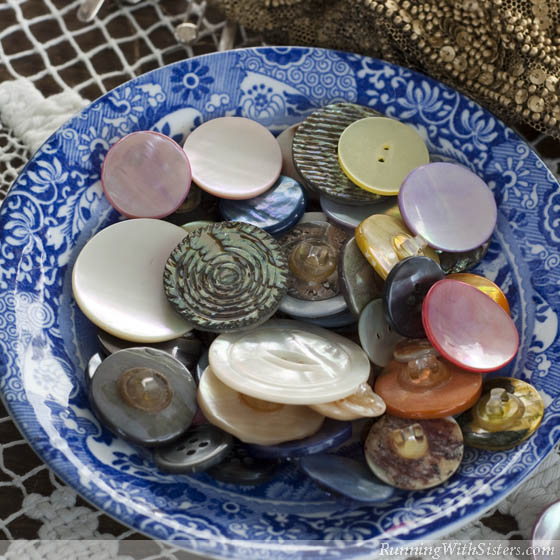 Vintage Buttons In Bowl