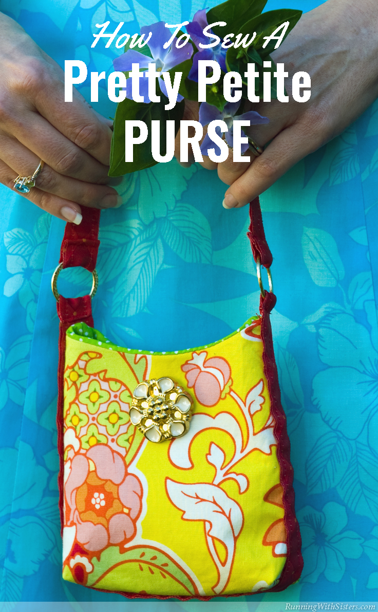 RunningWithSisters.com Sew a pretty petite purse perfect for a garden party.