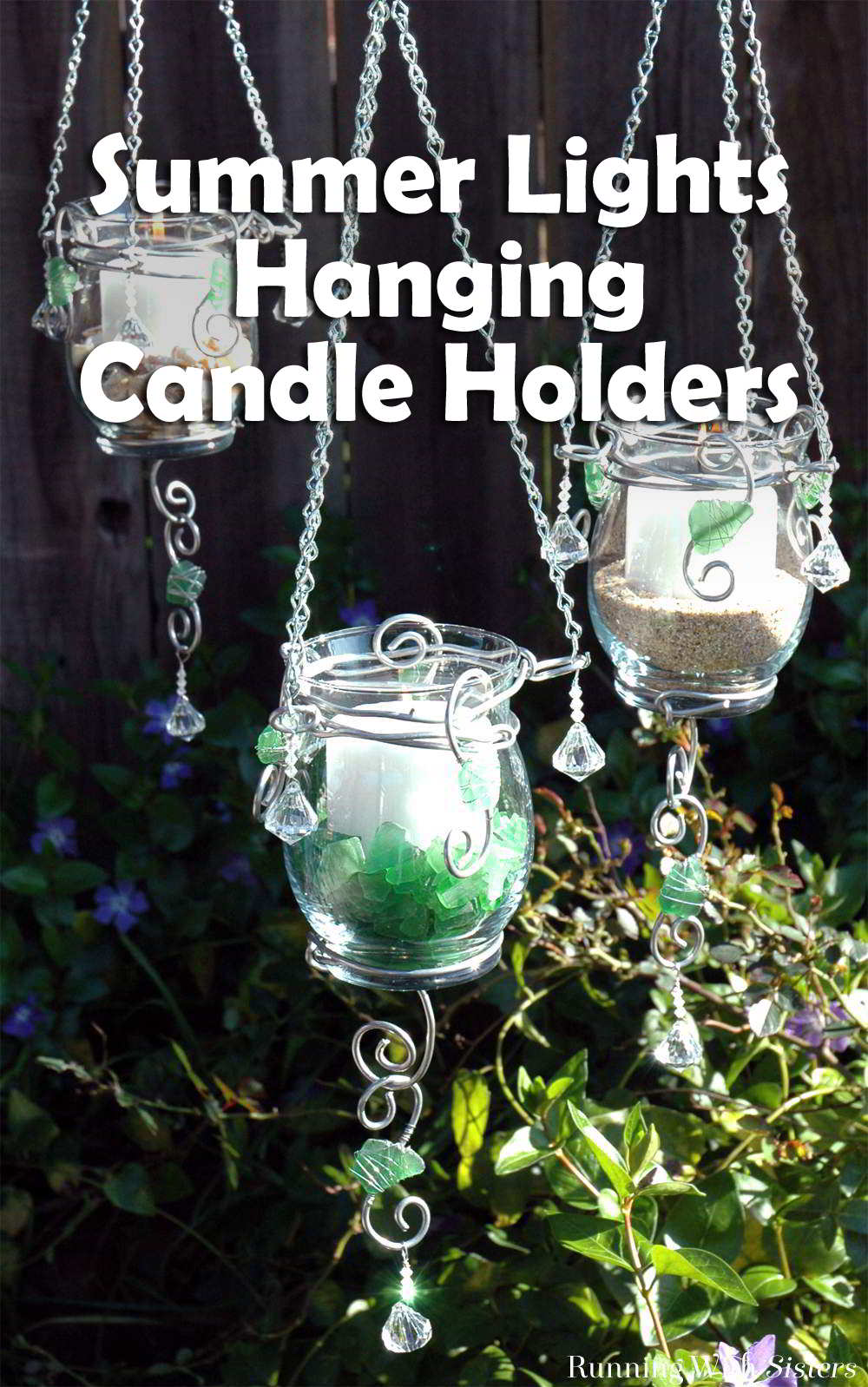 With a simple hurricane candle holder, armature wire, and crystal beads, you can create a trio of hanging candle holders. Add sea glass, sand, or seashells!