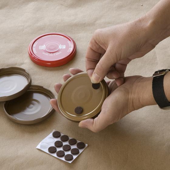 Mosaic Coasters Step 1 paint and felt lids