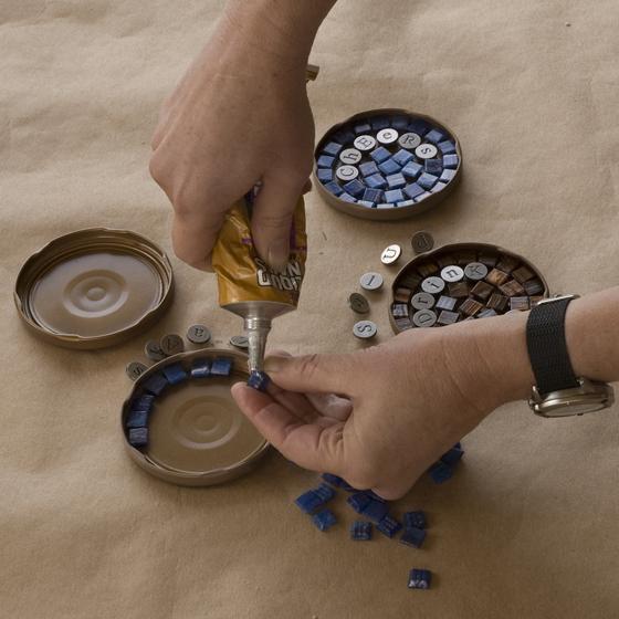 Mosaic Coasters Step 2 - glue tiles
