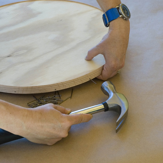 Smashing Tile Table Step 1 Nail Veneer Edge