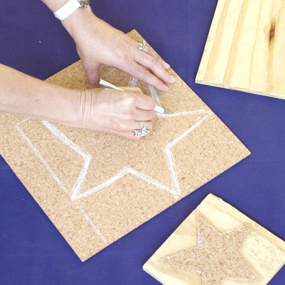 Star-Stamped Placemats Step One Make Stamp