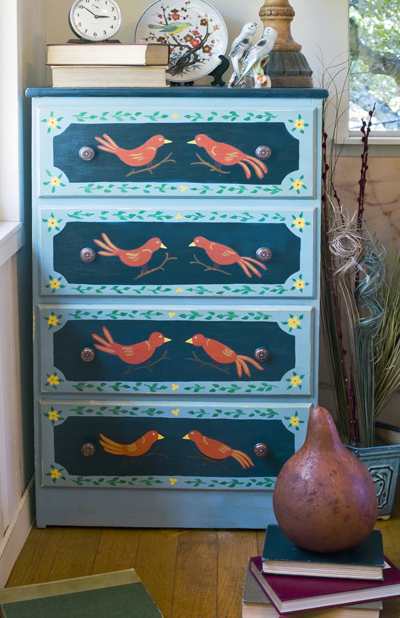 Bird-By-Bird Painted Bureau