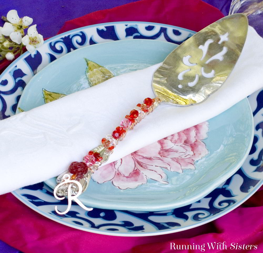 Make a Beaded Cake Server by embellishing a silver cake server with sparkling crystal beads and a fancy monogram charm. What a pretty handmade gift!