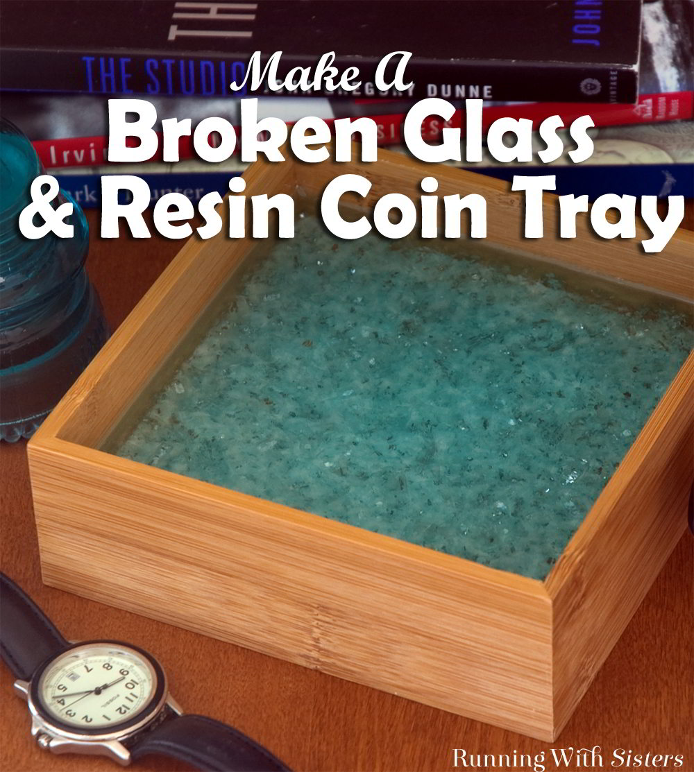 Make a broken glass and poured resin tray using shattered glass from a broken car window. We'll show you how to mix two-part resin to make this tray.