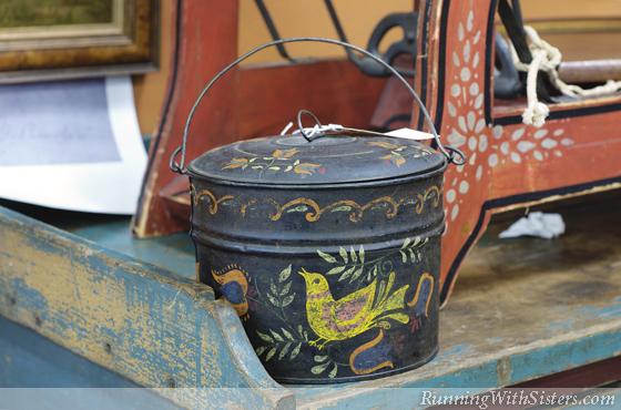 Painted Bird Tin Bucket