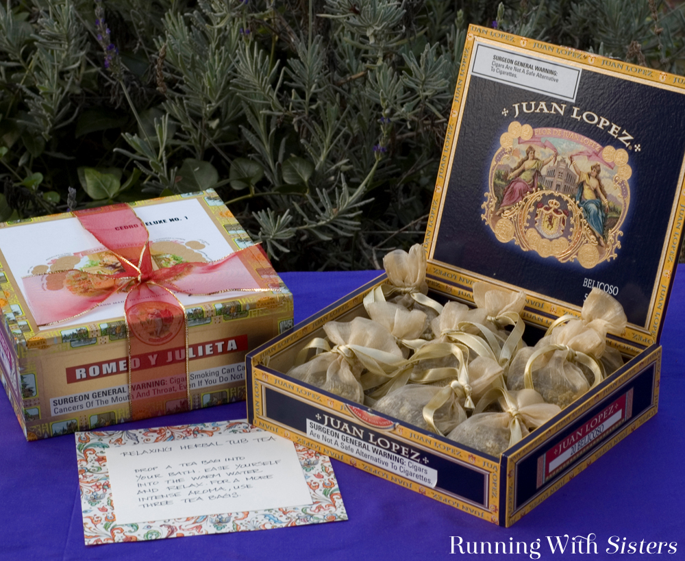 Make a cigar box full of relaxing herbal tub tea each blended in a little organza favor bag.