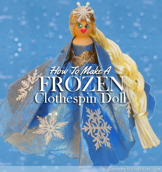 Make a Frozen princess clothespin doll! Her dress and cape are made from coffee filters and snowflake stickers! Perfect craft for a little girl!