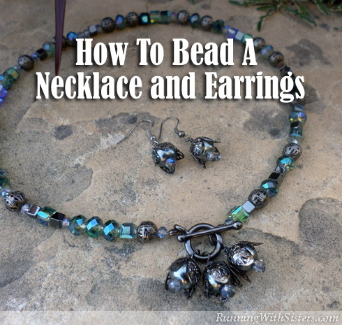 Learn to bead a necklace and earrings with black pearls and crystals. Make filigree flower earrings to mirror the pearl pendants on the toggle clasp.
