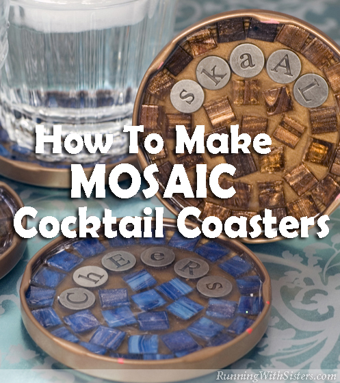 Make a set of mosaic cocktail coasters that each propose a toast! Using clear resin instead of grout shows off the gorgeous blue and copper glass tiles.