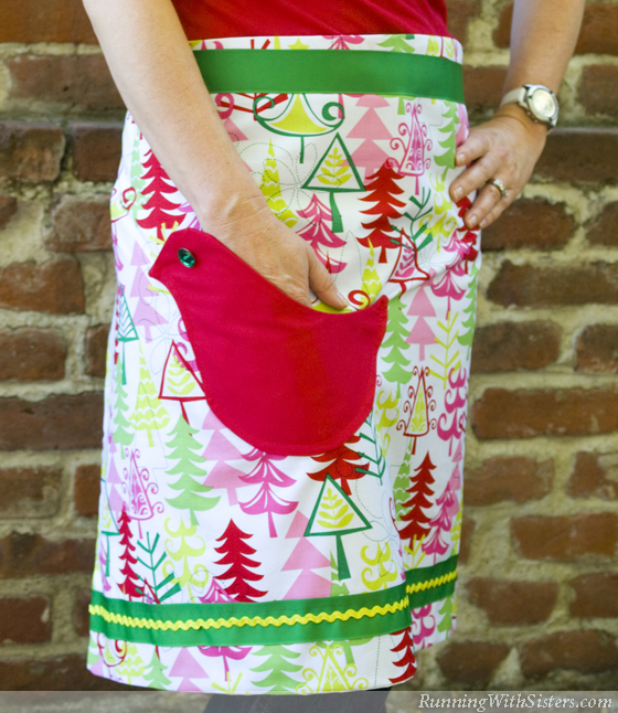 Purty Birdy Christmas Apron Front