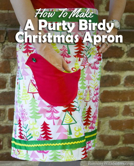 Cook up a birdy little apron chock full of holiday cheer! This Christmas bird apron is so easy to make, you don't even need a pattern!