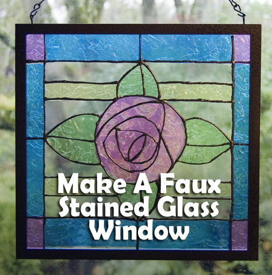 This pretty faux stained glass window is really crumpled cellophane sandwiched between two frames. And the leading is puff paint!