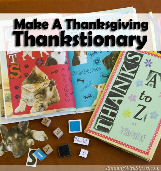 Make a Thanksgiving Day thanks book with magazines and rubber stamps! Recycle a thrift store picture book into a scrapbook of things to be thankful for.