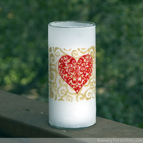 Valentine's Day Flocked Candle