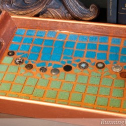 Vintage Button And Resin Mosaic Tray
