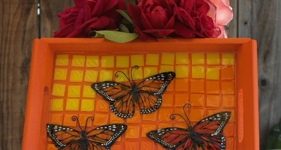 Butterfly Mosaic Tray