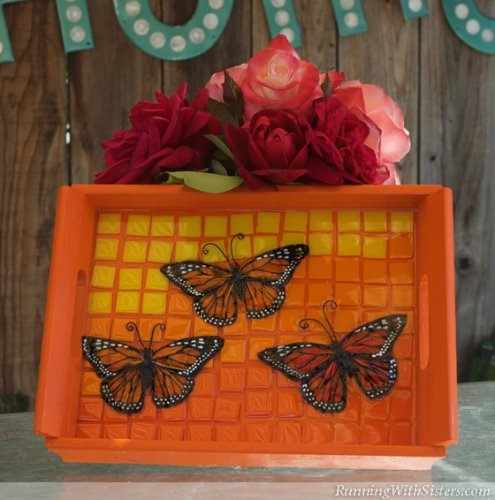 Wings Of A Butterfly Mosaic Tray Running With Sisters