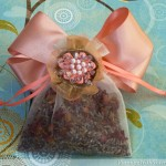 Rose Sachet With Beaded Flower Applique