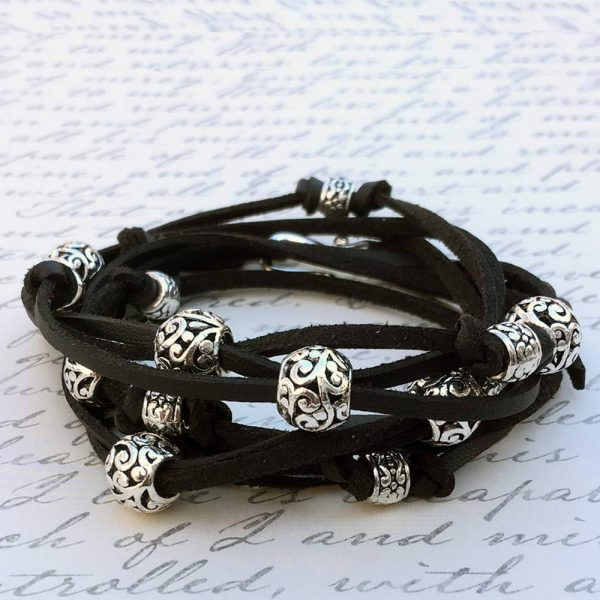 Boho Leather Wrap Bracelet in Black
