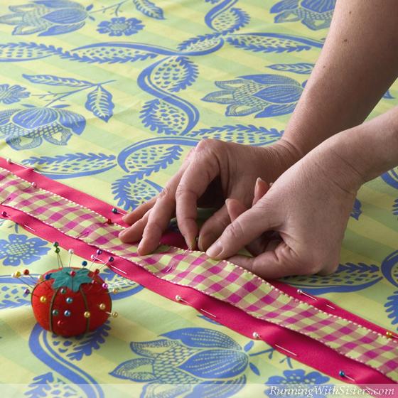 Palm Beach Cafe Curtain - Step 2 Pin Plaid Ribbon