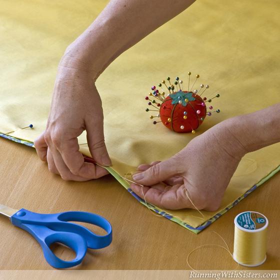 Palm Beach Cafe Curtain - Step 6 Hand Stitch Liner