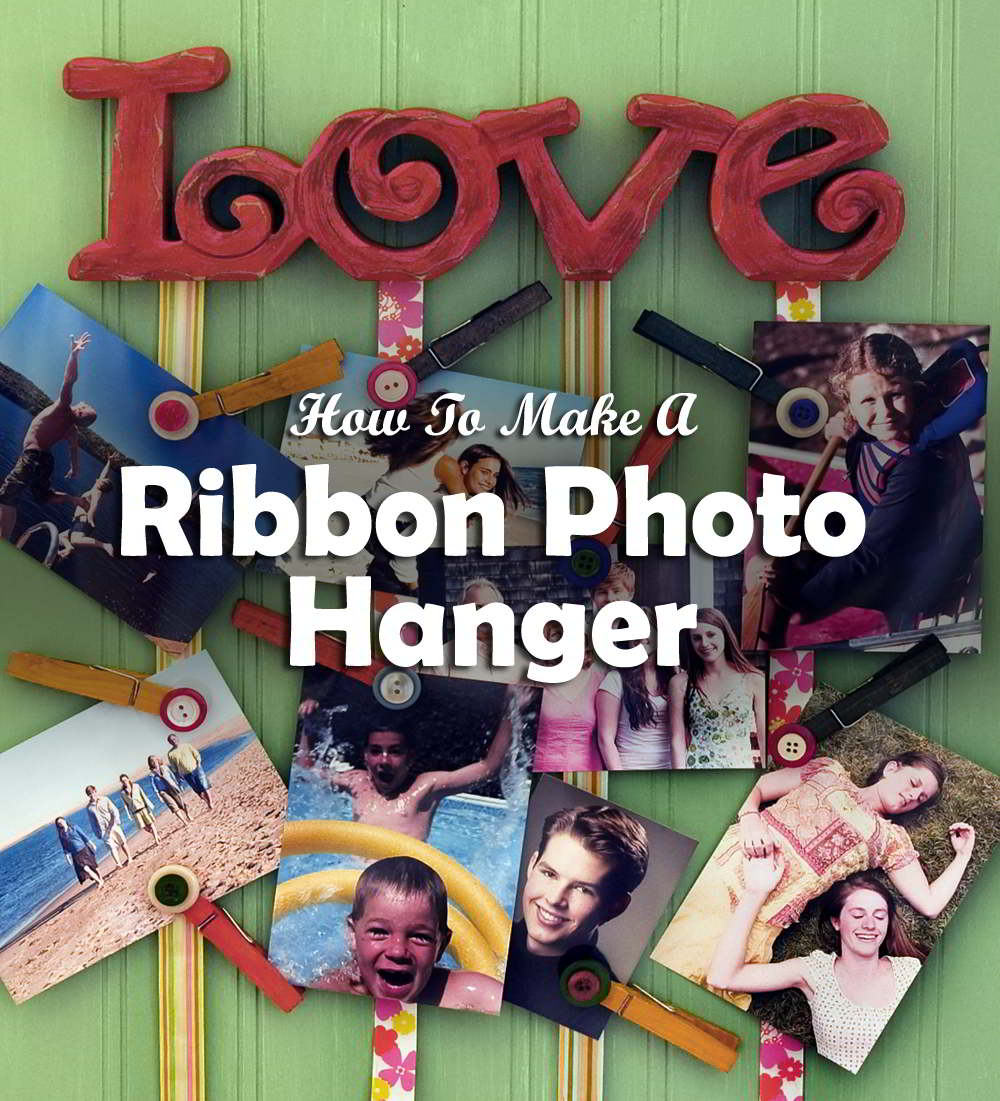 Make a ribbon photo hanger with ribbons and clothespins. It's a fun way to show off your pictures!