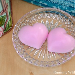 These Peppermint Heart Soaps are fun and easy to make! The trick is in the soap base. I's melt-and-pour. All you do is melt the base soap in the microwave, add color and scent, and pour in a mold.