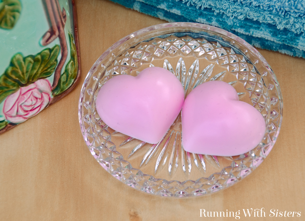 Melt-and-pour soap is fun and easy to make. These pink peppermint heart soaps make a great gift!
