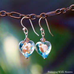 Make a gorgeous pair of Glass Bead Earrings using Venetian glass beads shaped like hearts. We'll show you how to make them with in a flash.