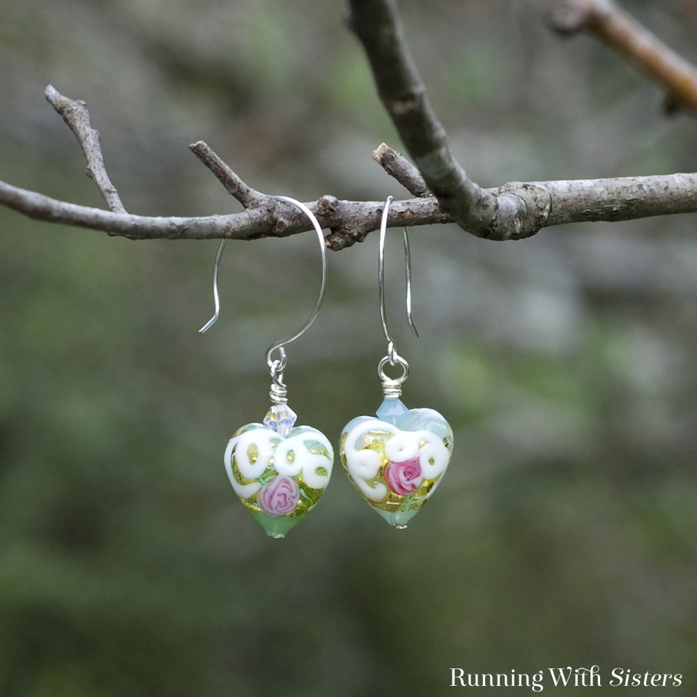 Venetian Glass Bead Heart Earrings