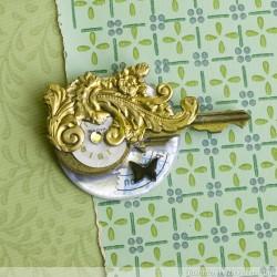 Vintage Key Brooch