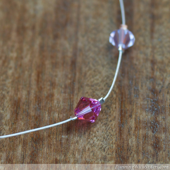 Pretty In Pink Illusion Necklace Detail Bead With Crimps