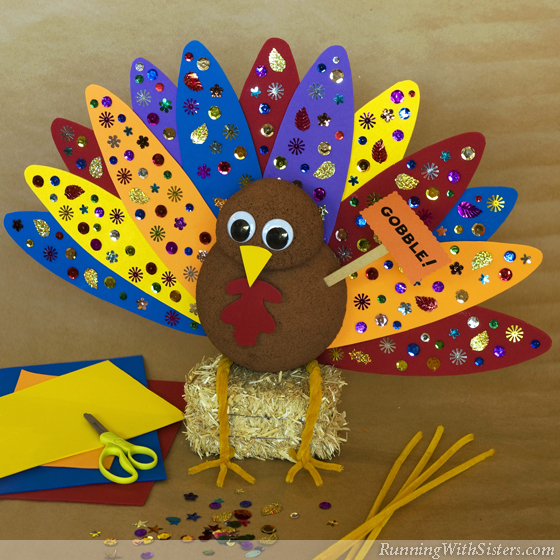 Kid craft tommy the turkey centerpiece running with sisters