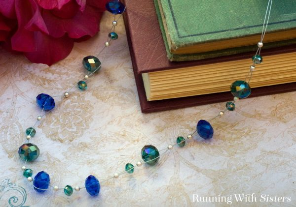 This floating bead necklace is easy to make and looks so cool! Just weave bead stringing wire in and out of faceted crystal beads! Finish with a clasp.