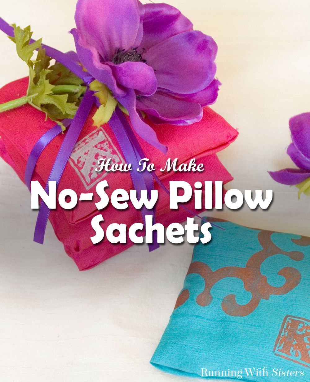 Give the gift of relaxation with a sweet stack of scented sachets. These no sew sachets are so lovely and you can customize them with a monogram!