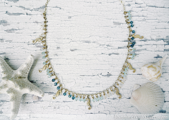 Seahorse Charm and Crystal Necklace