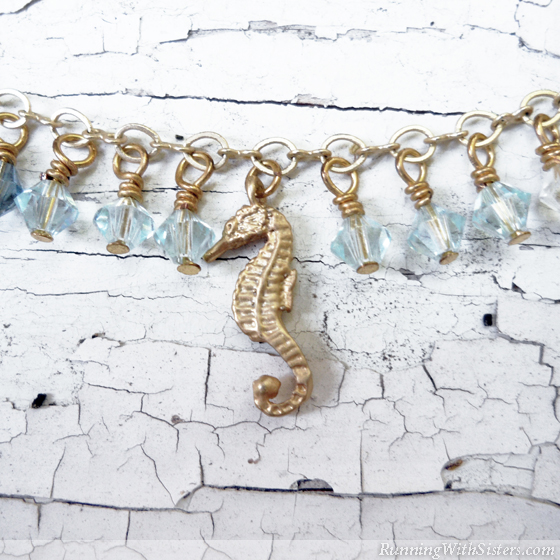 Seahorse Necklace Charm Detail