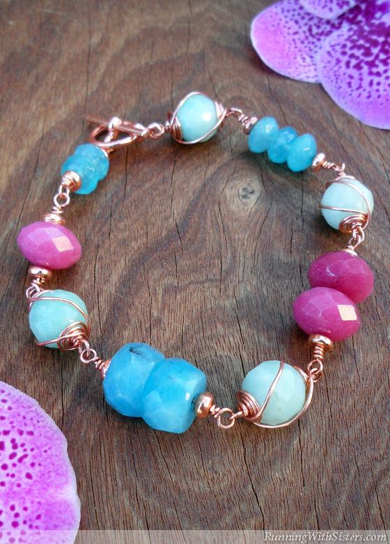 Copper Swirl Gemstone Bracelet