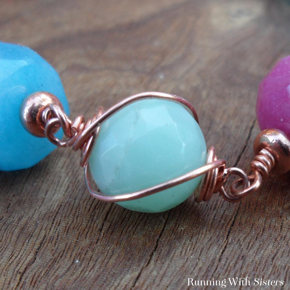 Copper Swirl and Gemstone Bracelet Detail 2
