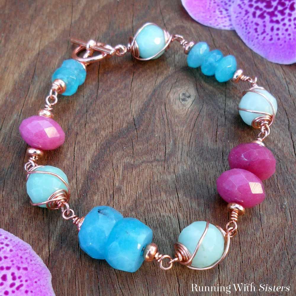 Copper Swirl and Gemstone Bracelet