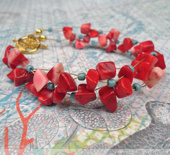 Coral Crisscross Bracelet