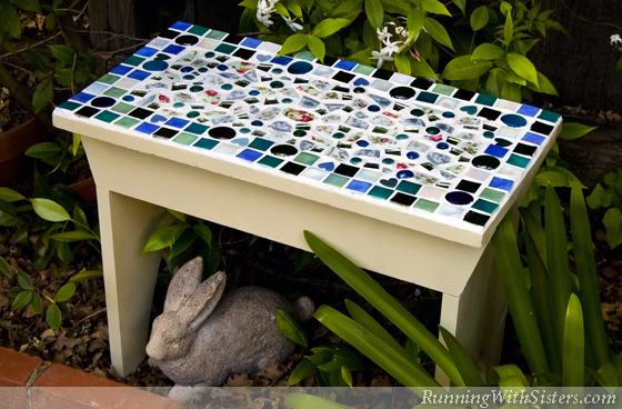 How To Mosaic A Garden Bench Running With Sisters