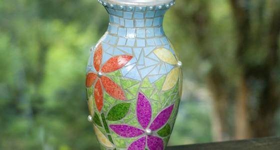 Paper Mosaic Vase Beauty Shot