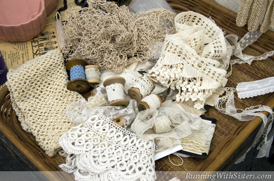 Basket of Lace With Spools