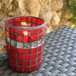 "Make a glass mosaic candleholder with glass ""tiles"" to let the candlelight shine through. We'll show you how to cut glass to make mosaic tiles."