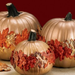 Glittered Leaf Pumpkins