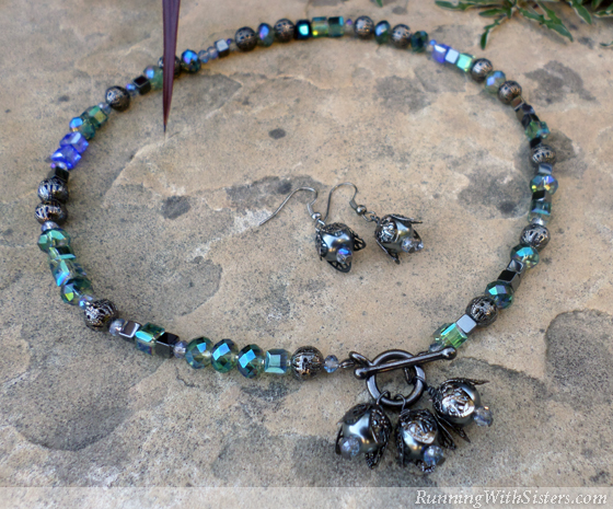 Black Pearl Necklace and Earrings