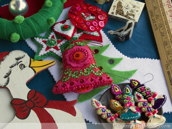 Christmas Felt Ornaments & Stocking: Whether they're crafts we've made over the years or homemade holiday crafts from the flea market, our favorite Christmas decorations are always homemade!